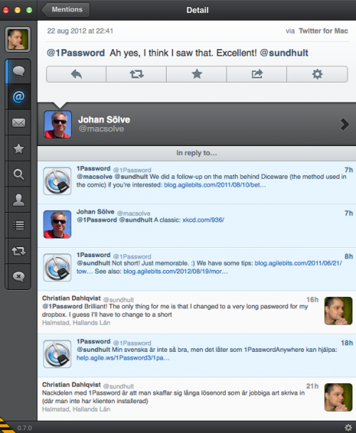 1Password - Support via Twitter