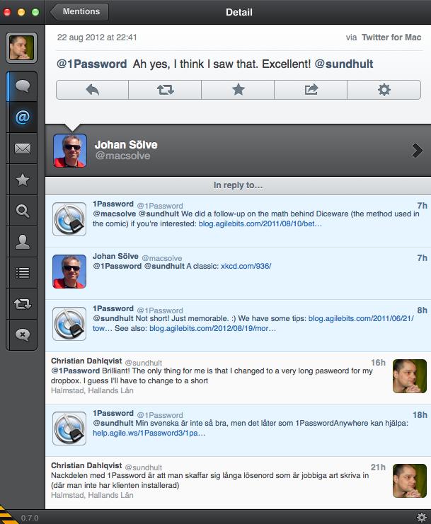 1Password - Support via Twitter