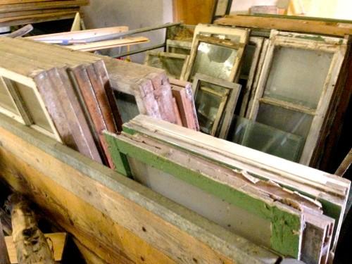 Gamla fönster att återvinna