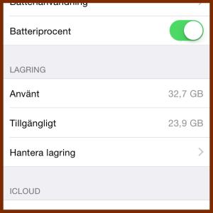 Lagringsutrymme iOS8