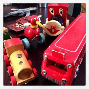 Leksaker som tillverkades i Rydö som finns på Rydö bruksmuseum