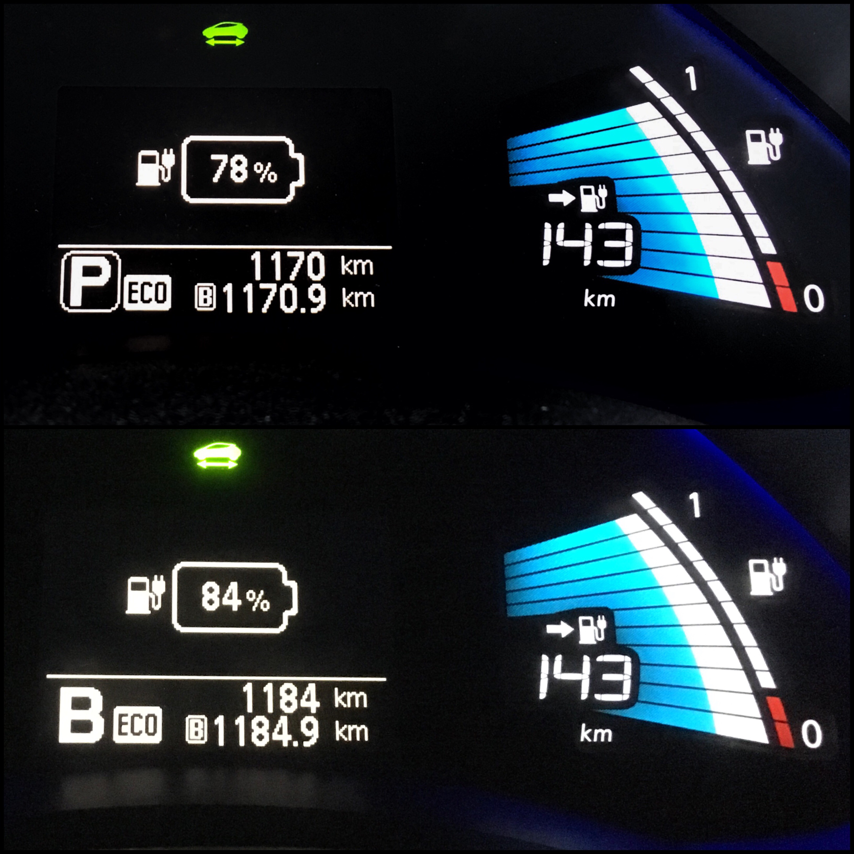 """Jämförelse av """"guessometer"""" i Nissan Leaf. Samma räckvidd, fast olika mängd energi i batteriet"""