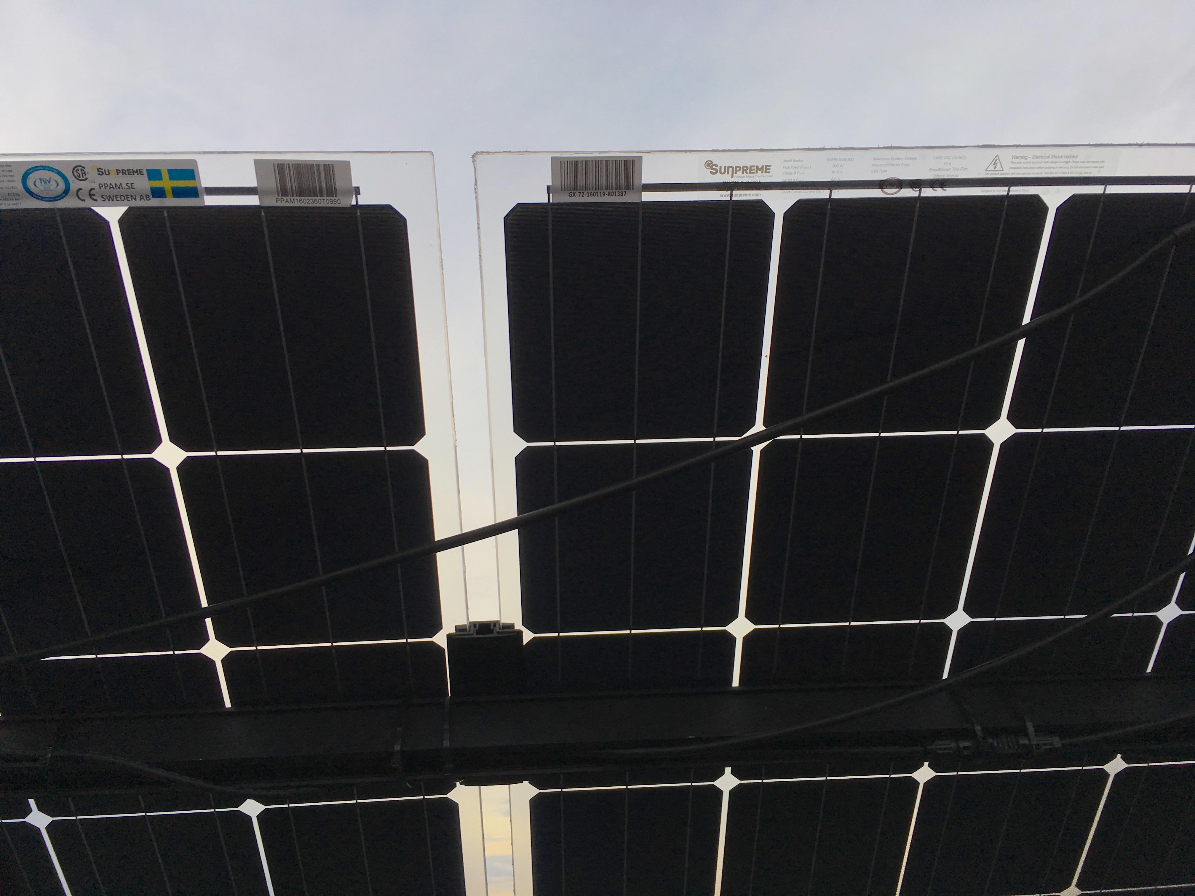 bifacial solceller på Örjanhallens tak sedda från undersidan