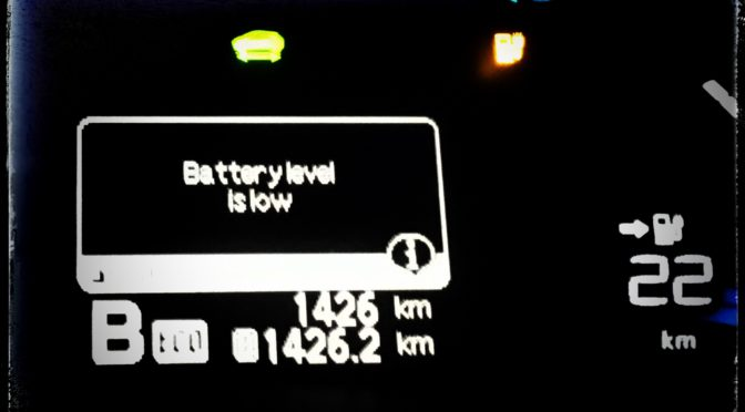 "Elbilen blinkar ""Battery level is low"""
