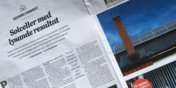 Om solceller i Sundhult i Hallands Nyheter