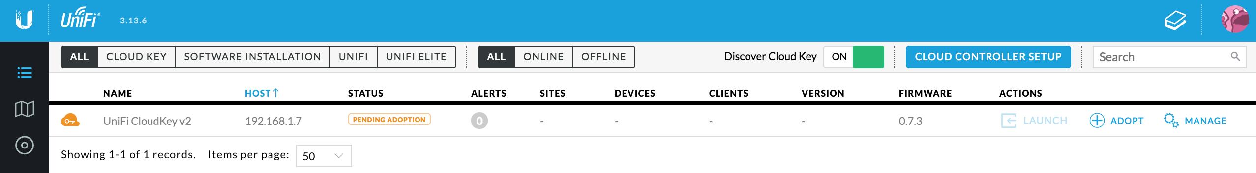 UniFi CloudKey - Hittad enhet