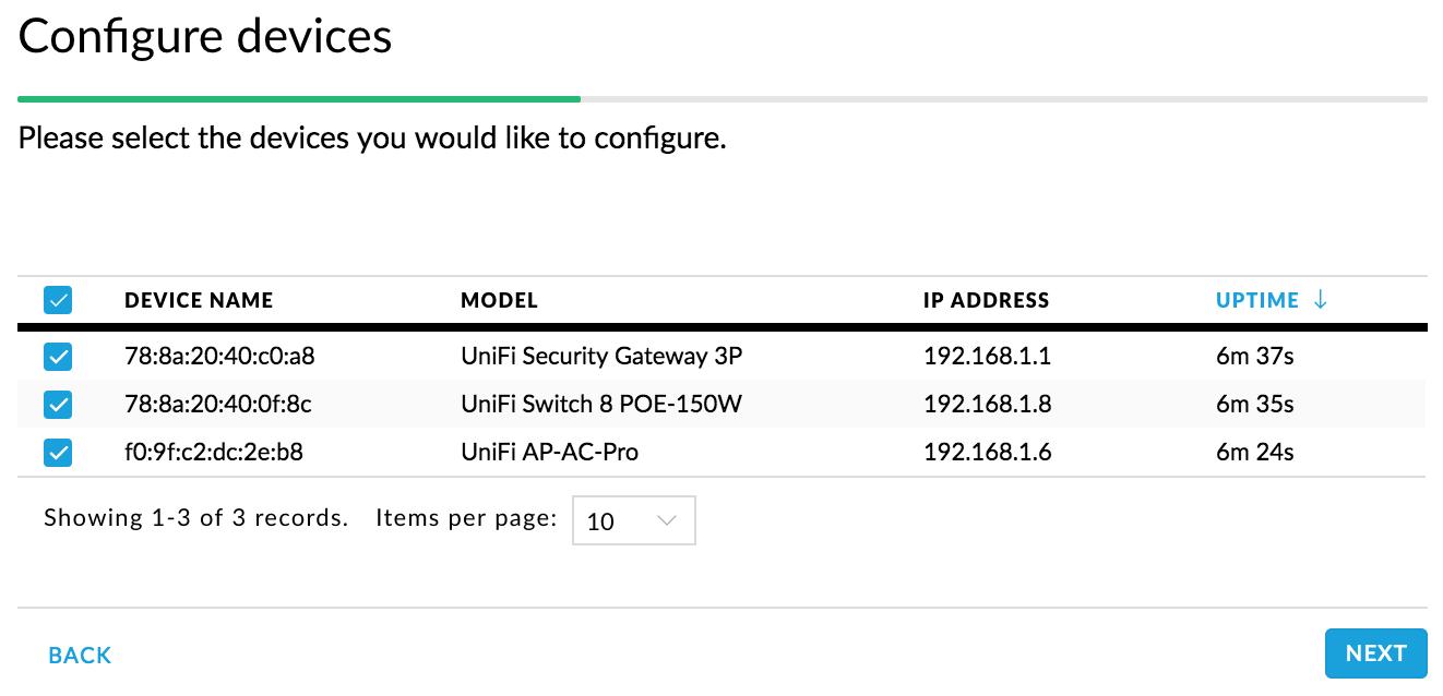 UniFi Setup Wizard - Steg 2 - Lägg till din UniFi-enheter