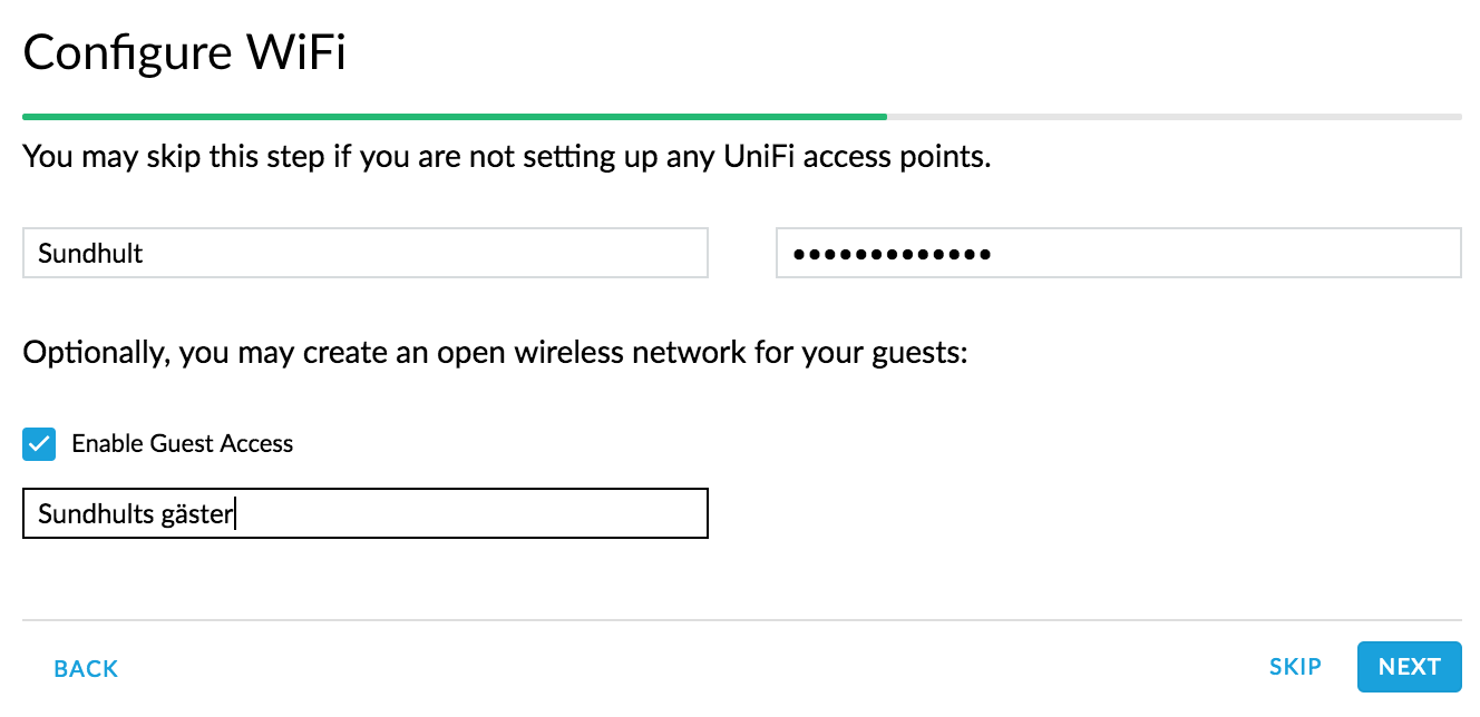 UniFi Setup Wizard - Steg 3 - WiFi