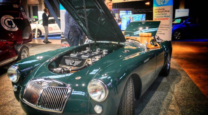 Elbilar i lång rad på e-Car Expo 2017