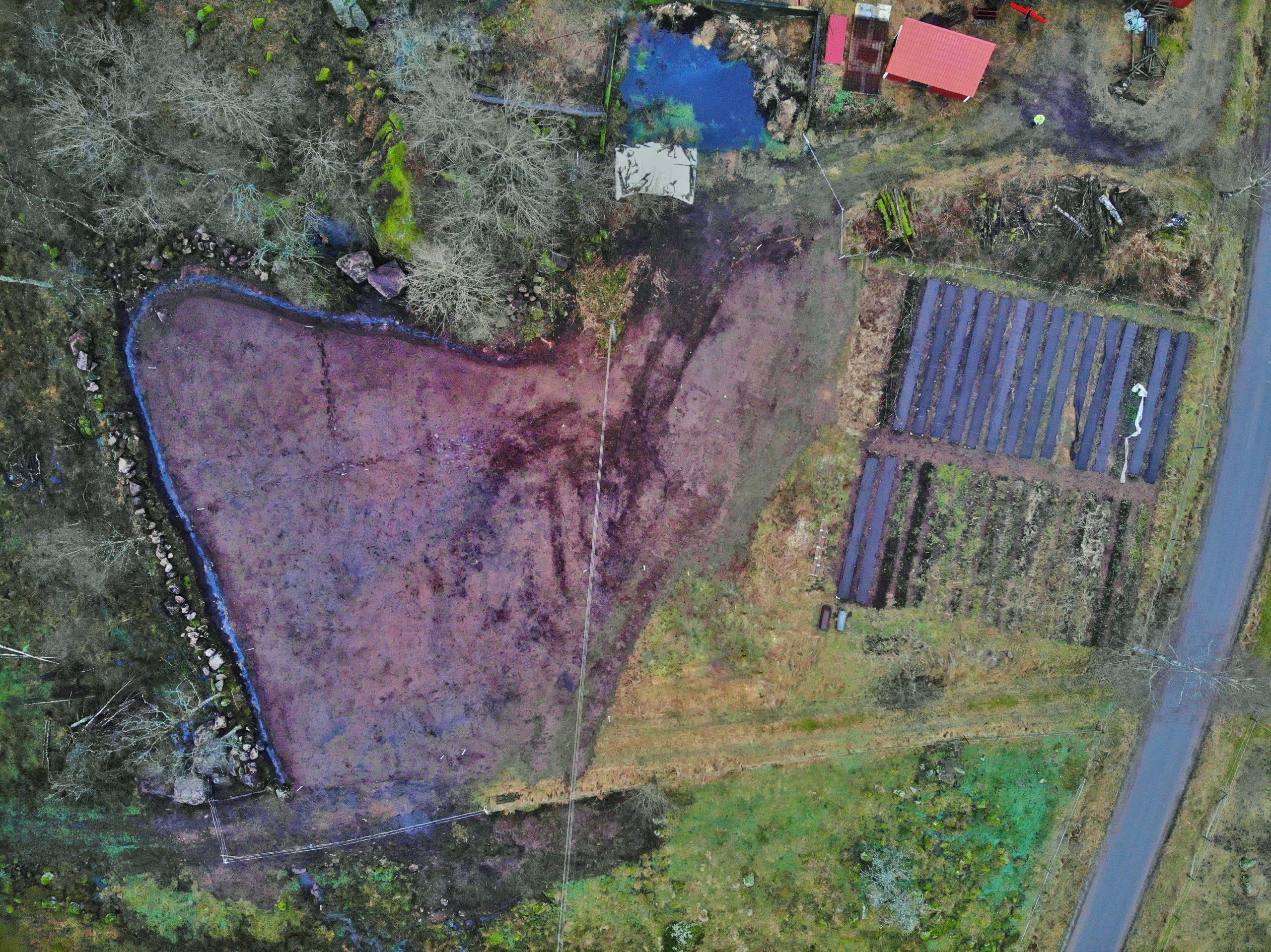 Drönarfoto på Broaker till planering av nya odlingsbäddar