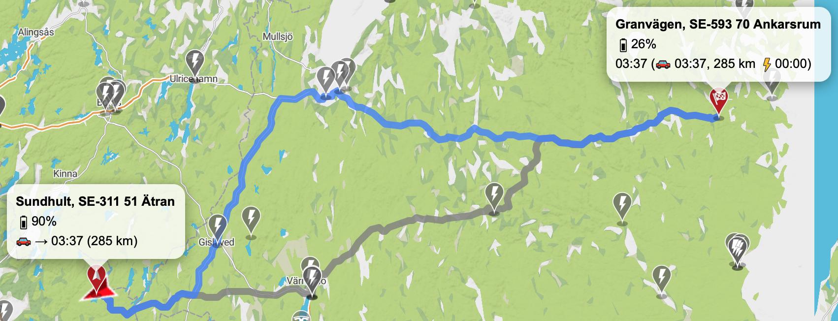 Tesla Model 3 LR resa till Ankarsum via Jönköping