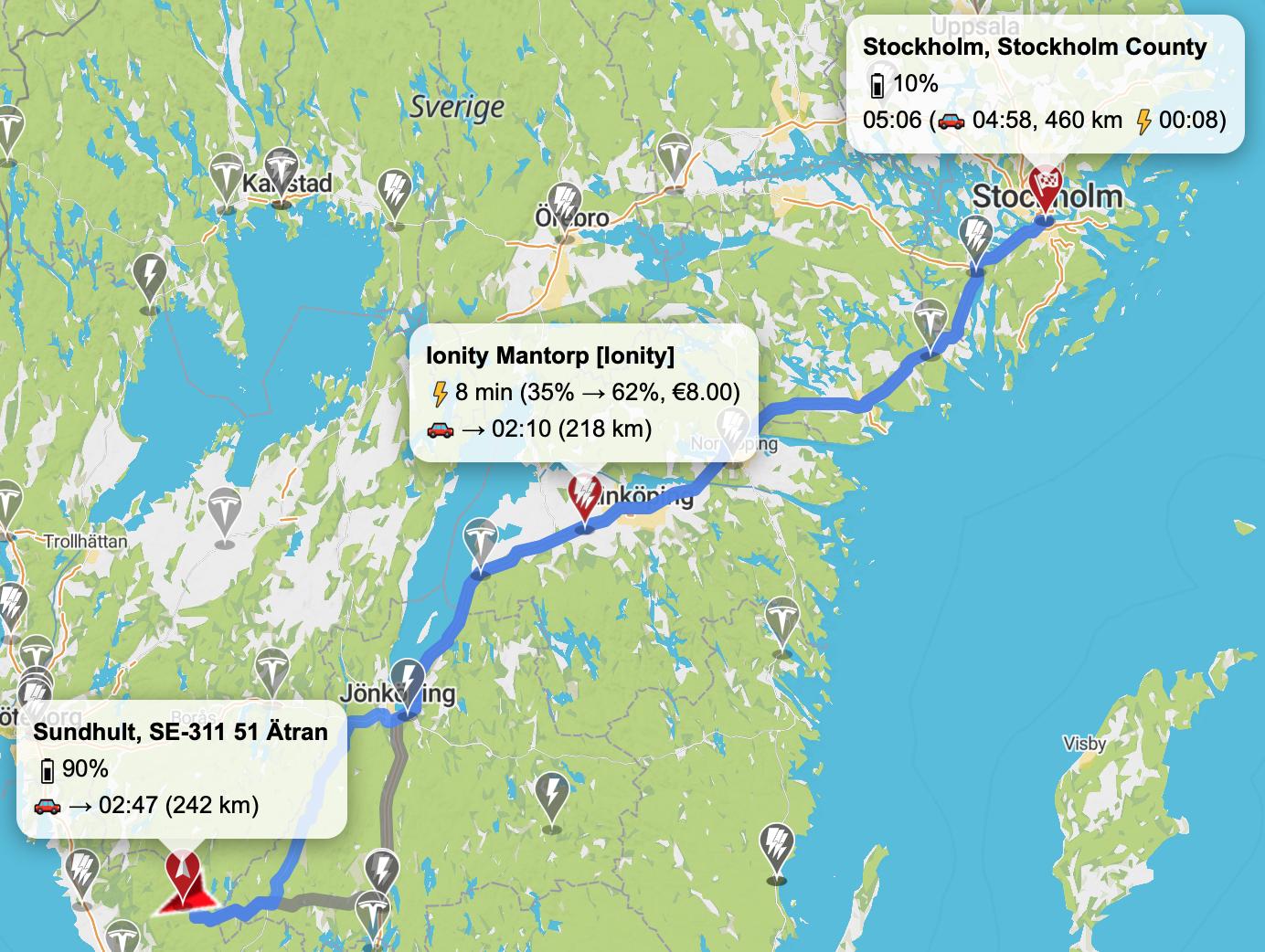 Tesla Model 3 LR resa till Stockholm