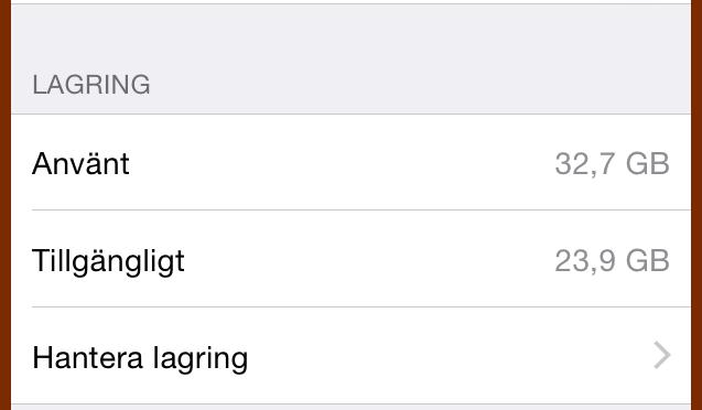 Så här rensade jag min telefon (iOS8)
