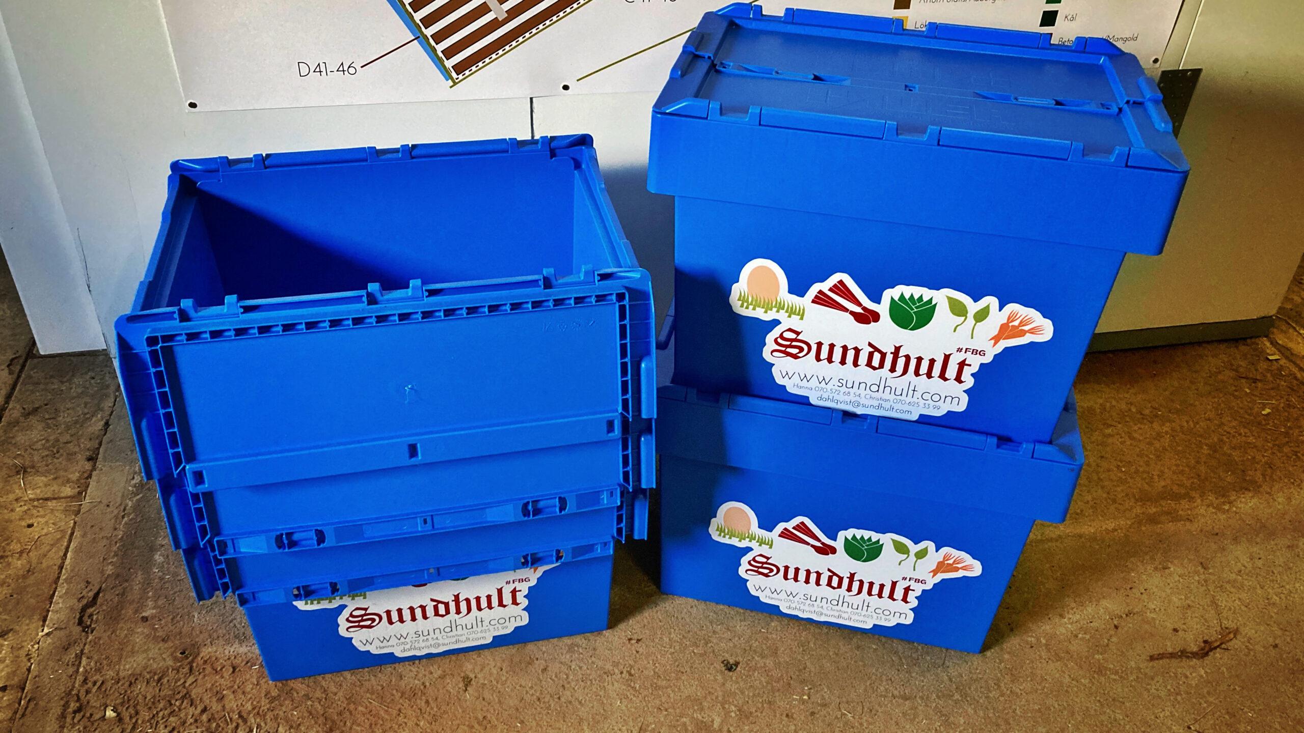 Auer-lådor som vi köpte av Rigedale Farm