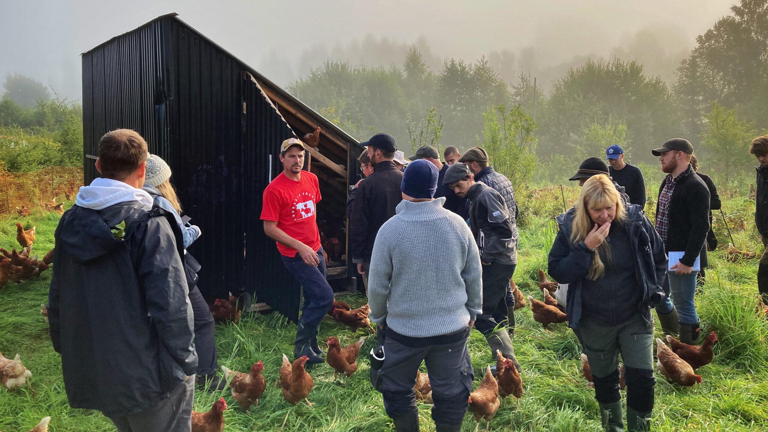 Richard Perkins visar äggmobil under Regenerativt Agricultrure Masterclass på Ridgedale